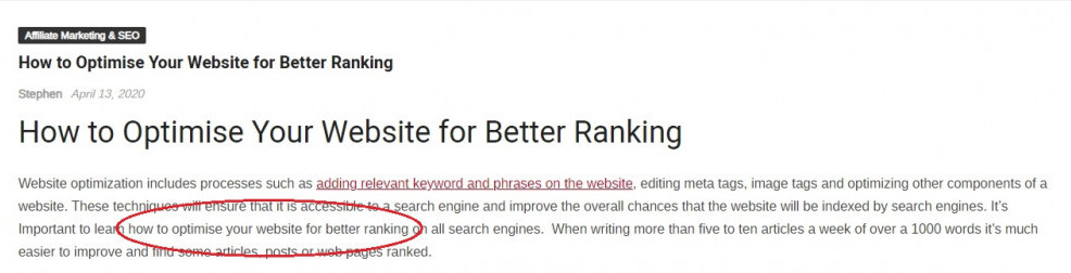 Keyword in First Paragraph